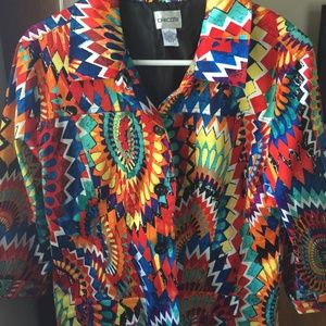 Vibrant Colorful Chico's Blazer Sz 2